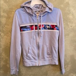 PINK hoodie, XS, light blue with floral trim